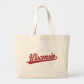 Wisconsin script logo in red tote bag