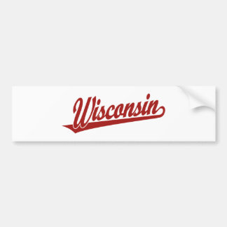 Wisconsin script logo in red bumper sticker