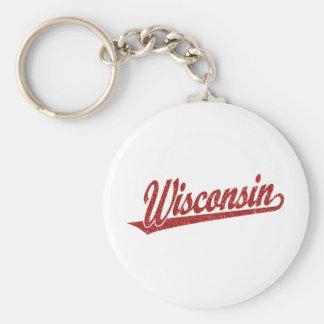 Wisconsin script logo in red distressed keychain