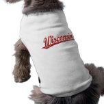 Wisconsin script logo in red distressed pet tshirt