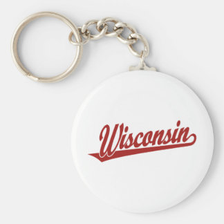 Wisconsin script logo in red basic round button keychain