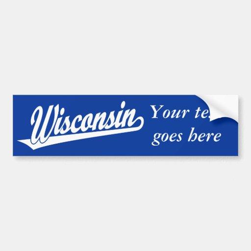Wisconsin script logo in white bumper sticker
