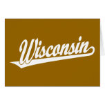 Wisconsin script logo in white greeting cards