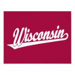 Wisconsin script logo in white custom announcements