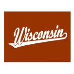 Wisconsin script logo in white post cards