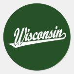 Wisconsin script logo in white round stickers