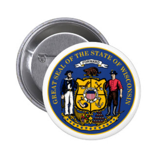 Wisconsin seal pinback buttons