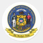 Wisconsin Seal Round Stickers