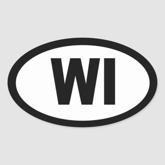 Wisconsin - sheet of 4 oval car stickers