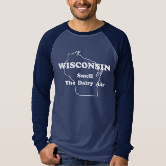Wisconsin Smell The Dairy Air Long Sleeve Ringer Shirts