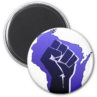 Wisconsin Solidarity Fist 2 Inch Round Magnet