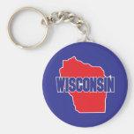 Wisconsin State Basic Round Button Keychain