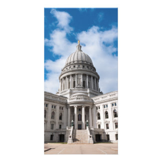 Wisconsin State Capitol Building and Entrance Customized Photo Card