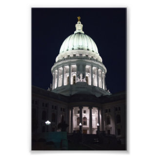 Wisconsin State Capitol in Madison at Night Photo Art