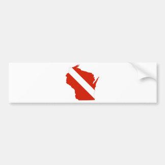 Wisconsin State Dive Flag Bumper Sticker