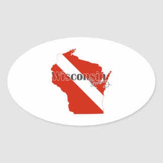 Wisconsin State Dive Flag Oval Sticker