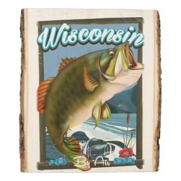 USA Themed Wisconsin State fishing poster Wood Panel