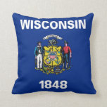 Wisconsin State Flag American MoJo Pillow