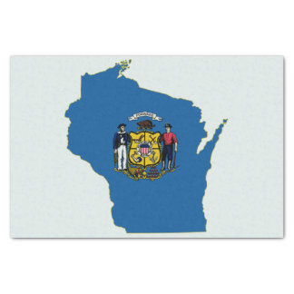 """Wisconsin State Flag and Map 10"""" X 15"""" Tissue Paper"""