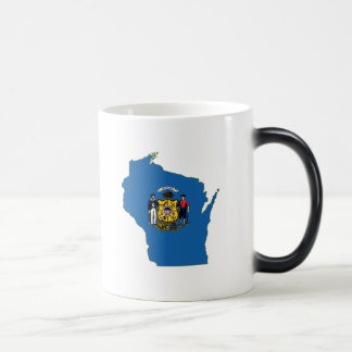Wisconsin State Flag and Map Magic Mug