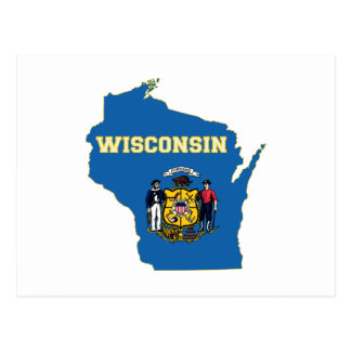 Wisconsin State Flag and Map Postcard