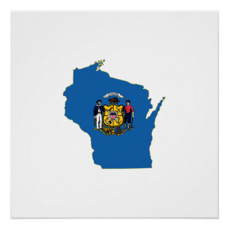 Wisconsin State Flag and Map Poster