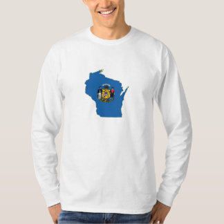 Wisconsin State Flag and Map T-Shirt