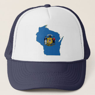 Wisconsin State Flag and Map Trucker Hat