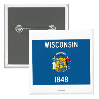 Wisconsin State Flag 2 Inch Square Button