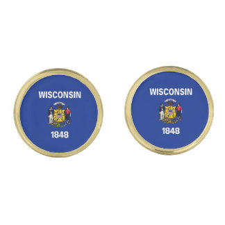 Wisconsin State Flag Design Gold Cufflinks