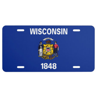 Wisconsin State Flag Design License Plate