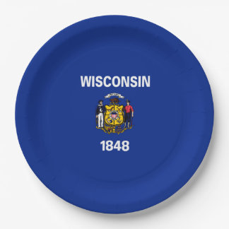 Wisconsin State Flag Design Paper Plate