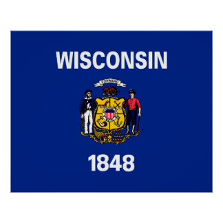 Wisconsin State Flag Design Poster
