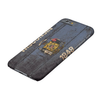 Wisconsin State Flag on Old Wood Grain Barely There iPhone 6 Case