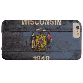 Wisconsin State Flag on Old Wood Grain Barely There iPhone 6 Plus Case