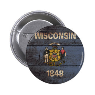 Wisconsin State Flag on Old Wood Grain Button