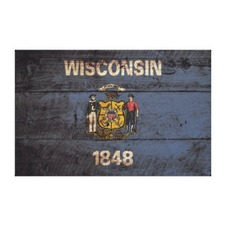 Wisconsin State Flag on Old Wood Grain Canvas Print