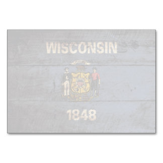 Wisconsin State Flag on Old Wood Grain Card