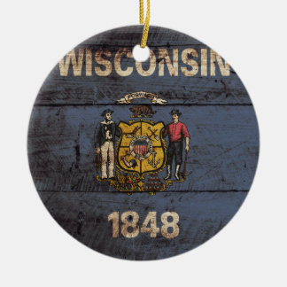 Wisconsin State Flag on Old Wood Grain Ceramic Ornament