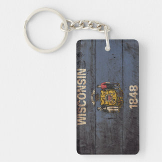 Wisconsin State Flag on Old Wood Grain Keychain