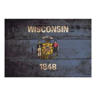 Wisconsin State Flag on Old Wood Grain Photo Print