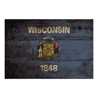 Wisconsin State Flag on Old Wood Grain Poster