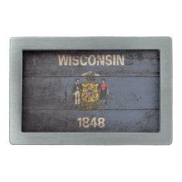 Wisconsin State Flag on Old Wood Grain Rectangular Belt Buckle