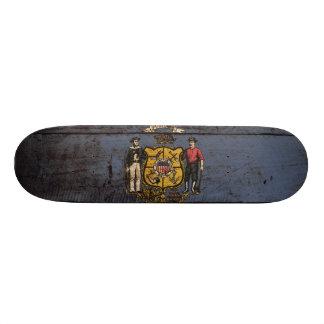 Wisconsin State Flag on Old Wood Grain Skate Board Decks