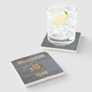 Wisconsin State Flag on Old Wood Grain Stone Coaster