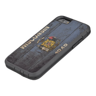Wisconsin State Flag on Old Wood Grain Tough Xtreme iPhone 6 Case