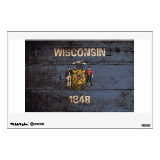 Wisconsin State Flag on Old Wood Grain Wall Decal