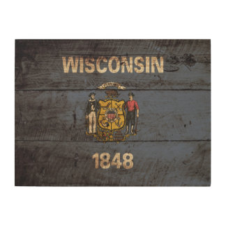 Wisconsin State Flag on Old Wood Grain Wood Wall Decor