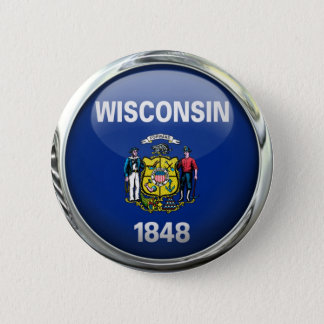 Wisconsin State Flag Round Glass Ball Pinback Button