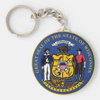 Wisconsin state flag seal united america country r keychain